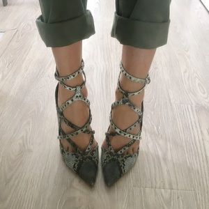 Only worn once! faux snake strappy heels!