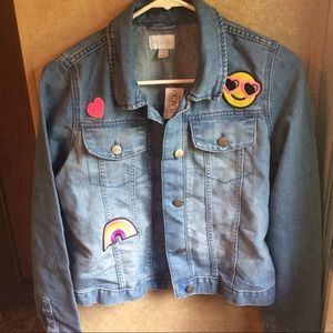 86bb12325360 Children s Place Jackets   Coats - Girl s Denim jacket with Emoji appliqués