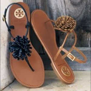 Tory Burch Shoes - Tory Burch Leather Cherilyn Black Pom Flat Sandal