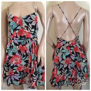 Forever 21 Backless Skater Chiffon Floral Dress L