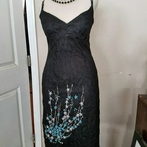 VINTAGE Black Lace Embroidered Cocktail Dress