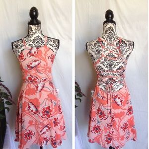 Dresses & Skirts - NWT Coral Lace Up Back Tropical Dress
