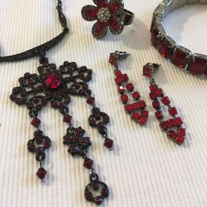 Landau Jewelry - Landau Black Chain Necklace Red Rhinestones