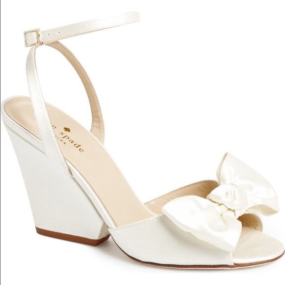 5670ffa595a kate spade Shoes - Kate Spade Iberis Ivory Satin Bow Sandals Sz8