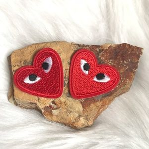 Comme des Garcons Accessories - (2) comme des garçons red heart eyes Iron On Patch
