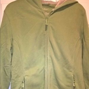 L.L. Bean Green Plush Lined Hoodie Jacket