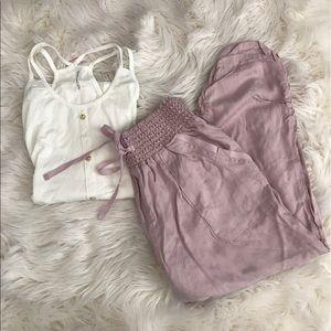 Rewash Pants - Lightweight Blush Pink Cropped Pants
