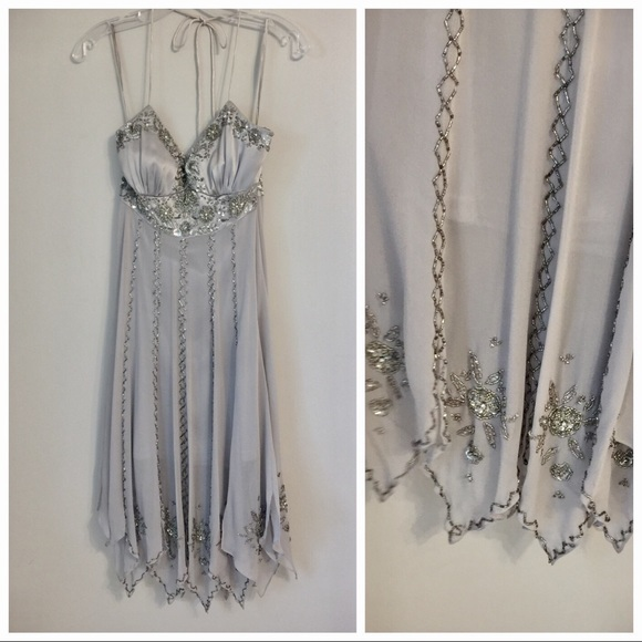 Sue Wong Dresses - Sue Wong Silver Beaded Flapper Dress