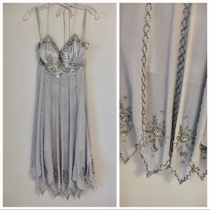 Sue Wong Silver Beaded Flapper Dress