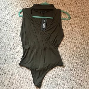 olive green wrap cut out neck body suit SIZE 6