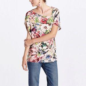 Anthropologie Deletta Quoin Floral Asymmetric Top
