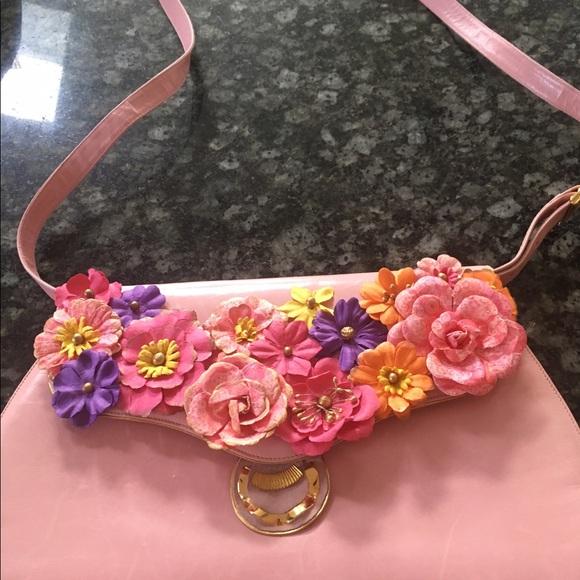 Bally Bags Pink Bag Rose Leather Tote Flower Cross Body Poshmark