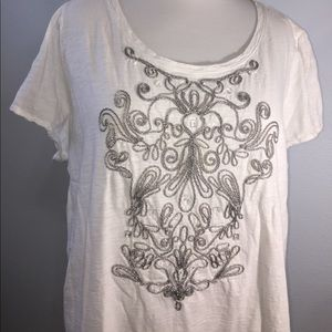 Beautiful white cotton T-shirt with silver details