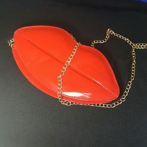 Red Lips Bag Clutch NWOT