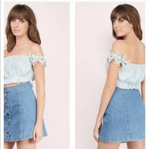 Tobi Tops - NWT Tobi Mint Lace Sleeve Top