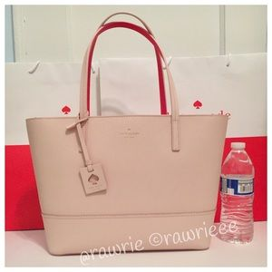 New Kate Spade light beige saffiano leather tote