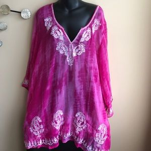 Other - Embroidered tunic cover up plus size