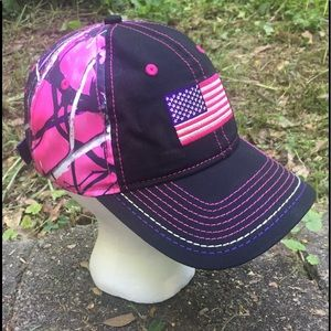 Moonshine Camo Accessories - Women's Pink USA Flag Camouflage Baseball Cap/Hat