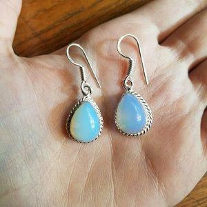 Jewelry - NWOT Handmade Milky Opal Sterling Silver Earrings