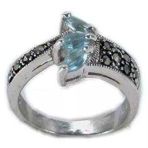 Jewelry - 925sterlingsilver flower marcasite Aqua rings