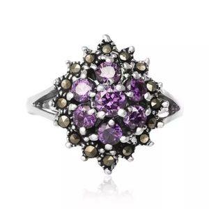 Jewelry - 925sterlingsilver flower marcasite Amethyst rings