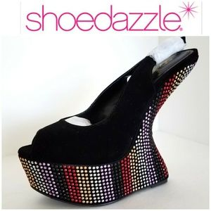 New Black Alexia 7 heels Platforms Wedge studs