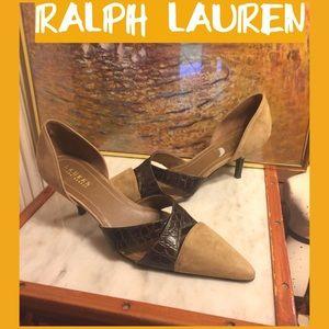 SALE🌷8 RALPH LAUREN BROWN LEATHER/TAN SUEDE PUMPS