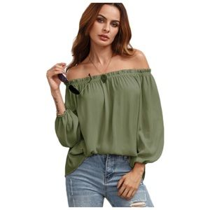  Olive Green Off The Shoulder Puff Sleeve Top