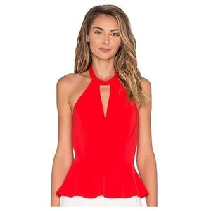 NWT Amanda Uprichard red Peplum Choker halter top