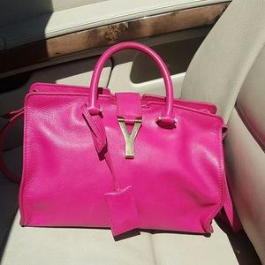 Saint Laurent Handbags - YSL Cabas Saint Laurent  Leather Satchel Bag Purse