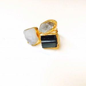 Bondhu Jewelry - Herkimer Diamond, Tourmaline, and Moonstone Ring