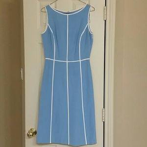Maggy London blue & white silk dress