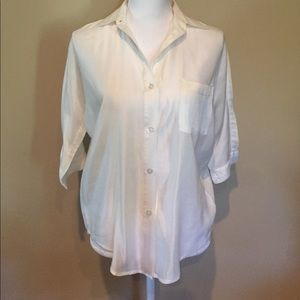 LNA Tops - LNA Cotton/Silk Blouse 3/4 Sleeve Off White