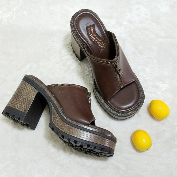 5dfdf0659a Skechers Shoes | Vtg 90s Chunky Grunge Slide Mules S12 | Poshmark