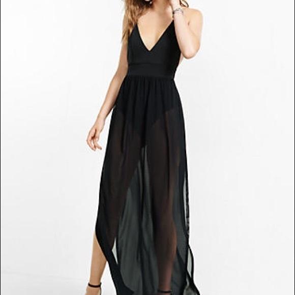 78fef5fa4262e Sheer black bodysuit maxi dress