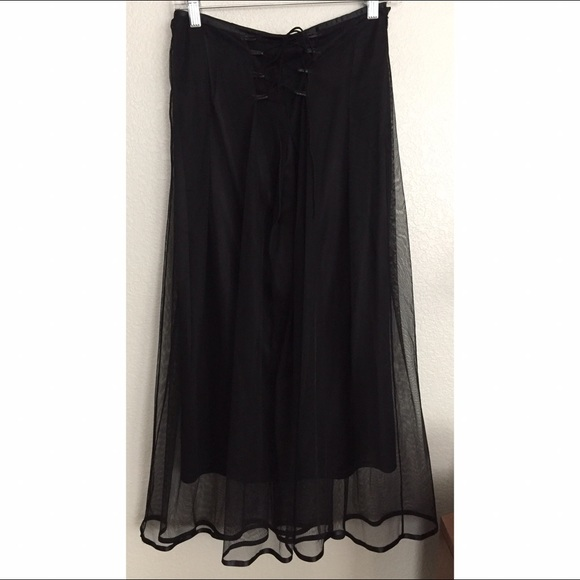 black mesh lace up maxi skirt s from connie s closet on