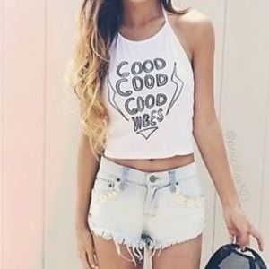 Brandy Melville Tops - Good good vibes sachi halter top