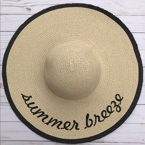 Accessories - Straw Embroidered Floppy Sun Hat