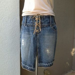 Silver Jeans Dresses & Skirts - SILVER JEANS Lace Up Distressed Denim Skirt
