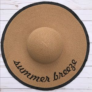 Accessories - Tan Embroidered Floppy Sun Hat