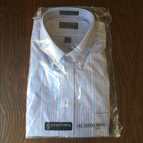 Stafford nwt stafford striped shirt athletic fit 17 32 for Stafford dress shirts fitted
