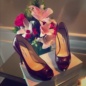 Jimmy Choo Shoes - Jimmy Choo Eelskin Peep-Toe Red Pumps