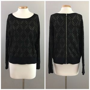 Gibson Sweaters - Gibson Black & Olive Lace Patterned Pull Over