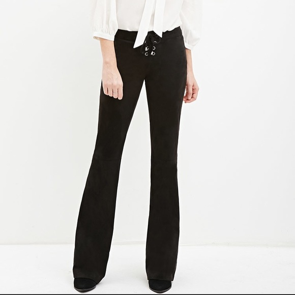 Forever 21 Pants Faux Suede Flare Black Long New Poshmark