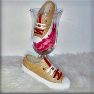 NEW LEATHER Bussola 5 Tan Red Athletic Sneakers