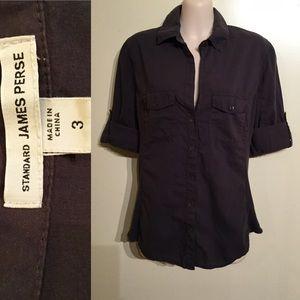 James Perse Tops - James Perse 3/4 Sleeves Panel Shirt Sz 3