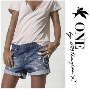 One Teaspoon Pants - One Teaspoon Blue Cult Chargers Relaxed Shorts 30
