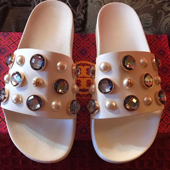 794f62e902f65 Tory Burch Vail Embellished slide sandal! M 5928ccff680278cb08011a36