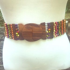 Accessories - Gorgeous Wooden Colorful Elastic Beaded Belt L/XL