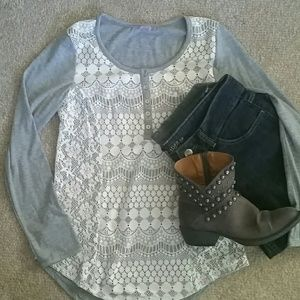 No Boundries Tops - Grey top with lace *price firm
